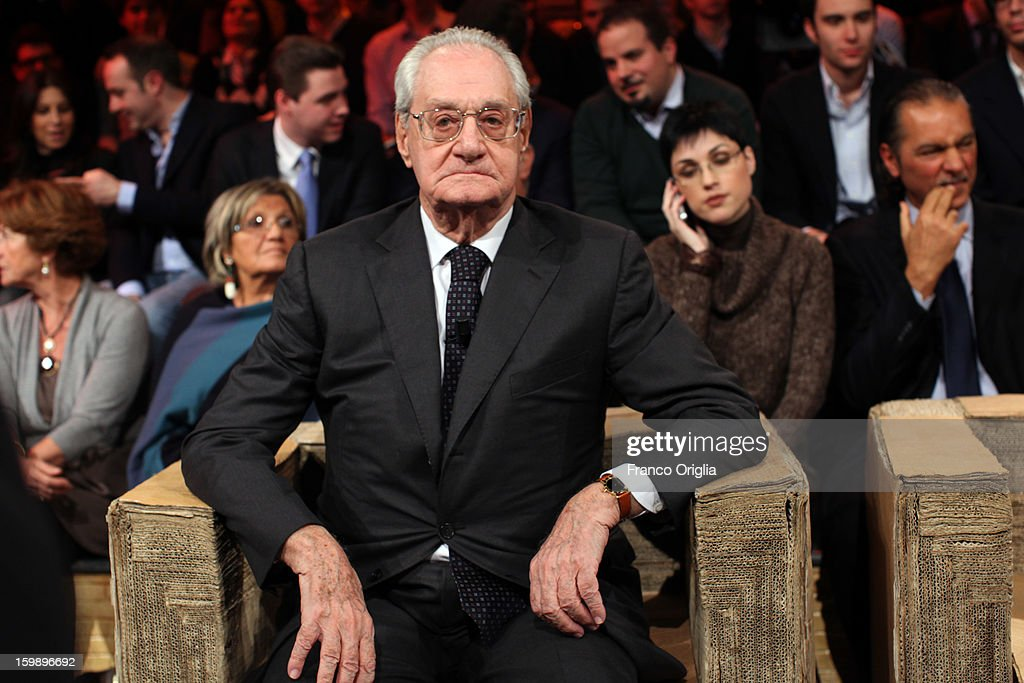 Former CEO of FIAT Cesare Romiti attends Ballaro' Italian TV Show on January 22, 2013 in Rome, Italy. National Elections In Italy are scheduled for February 24.