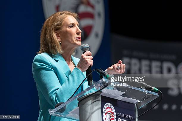 Former CEO of HP and GOP presidential hopeful Carly Fiorina speaks at the Freedom Summit on May 9 2015 in Greenville South Carolina Fiorina joined...