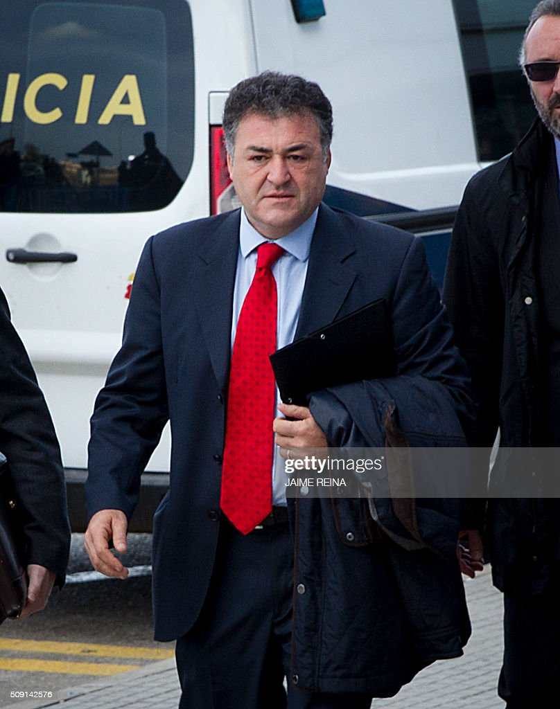 Former CEO of Sports activities for the Balearic Government Jose Luis âPepoteâ? Ballester arrives for a hearing in the courtroom at the Balearic School of Public Administration (EBAP) building in Palma de Mallorca, on the Spanish Balearic Island of Mallorca on February 9, 2016. The trial for corruption in a high stakes case of Spain's Princess Cristina, the sister of King Felipe VI, and her husband, former Olympic handball player Inaki Urdangarin, started again today in Palma. / AFP / JAIME REINA