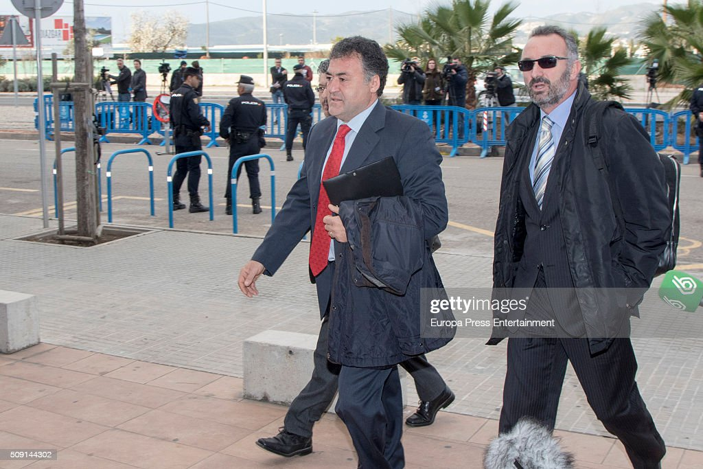 Former CEO of Sports activities for the Balearic Government Jose Luis Pepote Ballester (L) arrives at the courtroom at the Balearic School of Public Administration for summary proceedings on February 09, 2016 in Palma de Mallorca, Spain. Princess Cristina of Spain, sister of King Felipe VI of Spain, faces a tax fraud trial over alleged links to business dealings of her husband, Inaki Urdangarin Princess Cristina co-owned with her husband a company called Aizoon alleged to be one of the companies used by the non-profit foundation named 'Instituto NOOS', headed by Inaki Urdangarin to misuse 5.6 million euro of public funds which were allocated to organise sports and tourism events on February 9, 2016 in Palma de Mallorca, Spain.