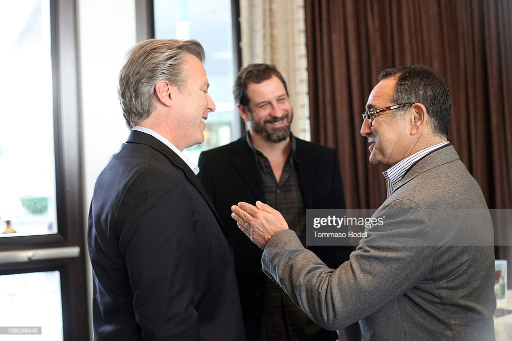 Former CEO, Yahoo! <a gi-track='captionPersonalityLinkClicked' href=/galleries/search?phrase=Ross+Levinsohn&family=editorial&specificpeople=4411317 ng-click='$event.stopPropagation()'>Ross Levinsohn</a>, Chairman, CEO and Co-Founder of Machinima, Inc. Allen DeBevoise and Chairman and CEO of MediaLink Michael Kassan attends the HRTS Digital/New Media Luncheon held at The Beverly Hilton Hotel on December 18, 2012 in Beverly Hills, California.