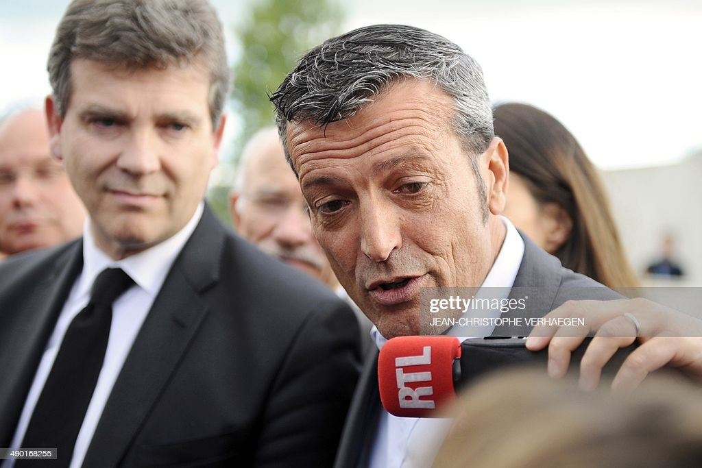 Former CFDT unionist of ArcelorMittal Florange and PS candidate for the upcoming European elections Edouard Martin gives an interview beside French...