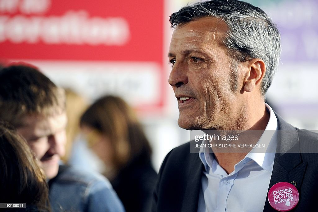 Former CFDT unionist of ArcelorMittal Florange and PS candidate for the upcoming European elections Edouard Martin attends a PS campaign meeting in...