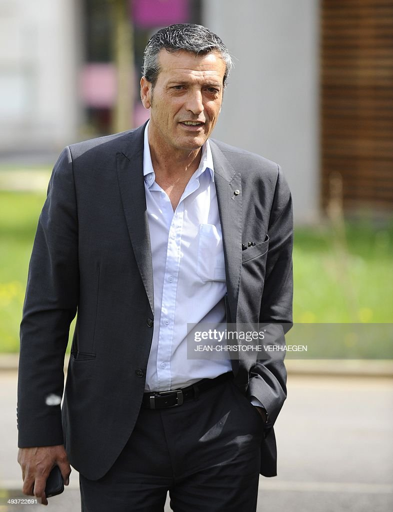 Former CFDT unionist of ArcelorMittal Florange and socialist party's candidate in the great eastern constituency Edouard Martin arrives to vote for...