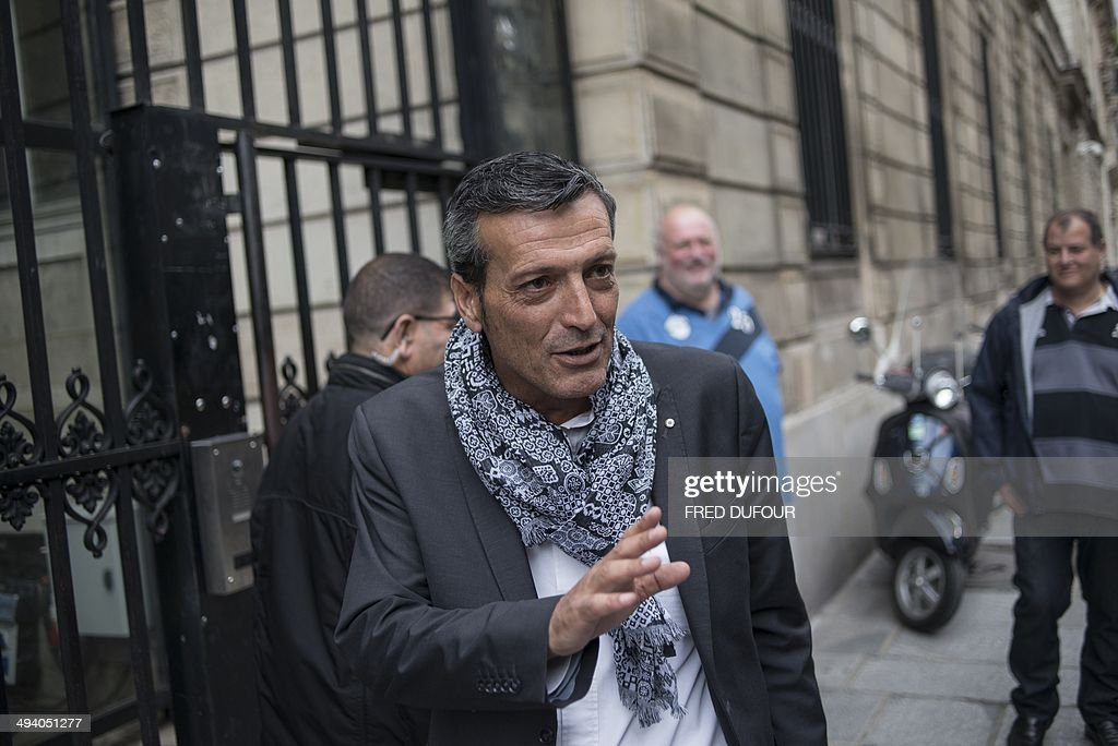 Former CFDT unionist of ArcelorMittal Florange and Socialist party's member Edouard Martin leaves following a meeting at the French Socilaist party...
