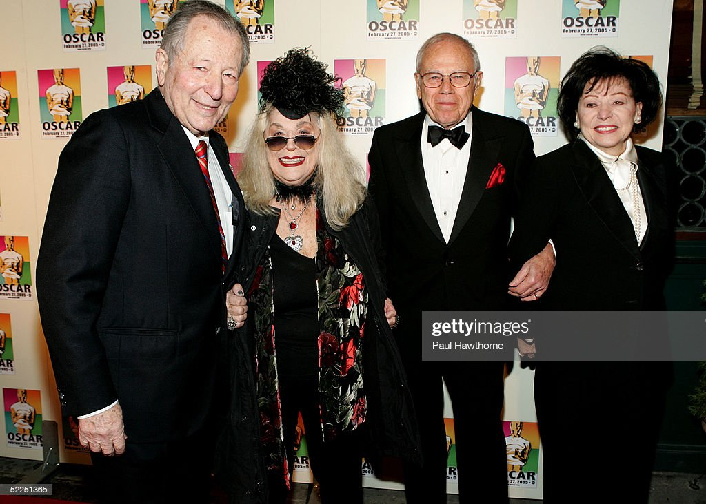 Former Chair of the Academy's New York Events committee Arthur Manson, Actress Sylvia Miles, Composer Sid Ramin and his wife Gloria attend the official New York celebration of the Academy Awards at Gabriel's February 27, 2005 in New York City.