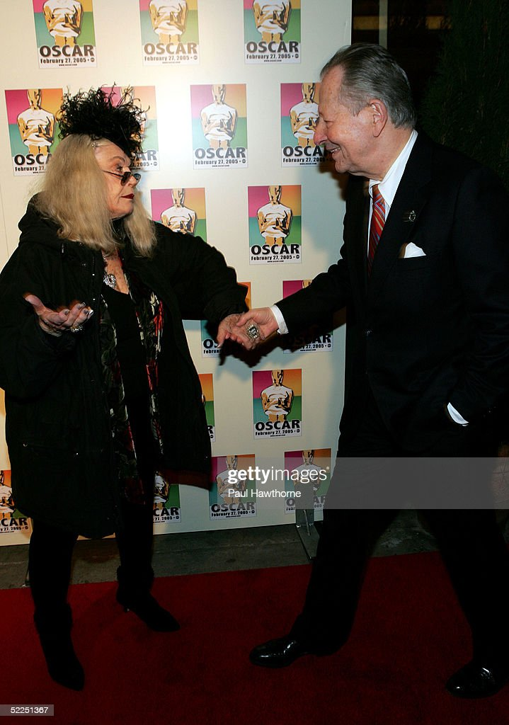 Former Chair of the Academy's New York Events committee Arthur Manson and actress Sylvia Miles attend the official New York celebration of the Academy Awards at Gabriel's February 27, 2005 in New York City.