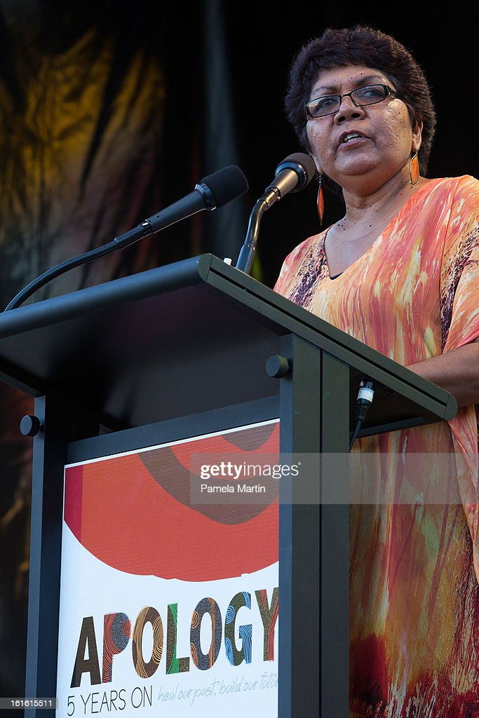 Former Chair of the Healing Foundation and member of the Stolen Genertaion Florence Onus speaks on stage during 'The Apology - Five Years On - Heal our Past, Build our Future' at Federation Mall on February 13, 2013 in Canberra, Australia.