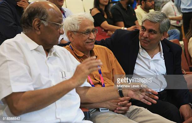 Former Chairman of the BCCI Sharad Pawar talks to Chairman of the ICC Shashank Manohar during the ICC World Twenty20 India 2016 SemiFinal match...