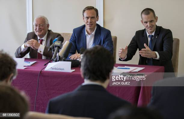 Former Chairmen of the chambers of the independent FIFA Ethics Committee HansJoachim Eckert and Dr Cornel Borbely give a press conference after...