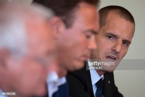 Former Chairmen of the chambers of the independent FIFA Ethics Committee HansJoachim Eckert and Cornel Borbely give a press conference after FIFA's...