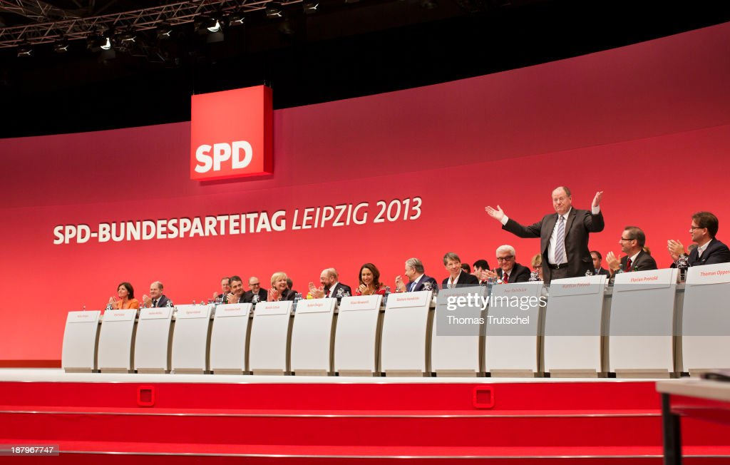 Former Chancellor Candidate <a gi-track='captionPersonalityLinkClicked' href=/galleries/search?phrase=Peer+Steinbrueck&family=editorial&specificpeople=209110 ng-click='$event.stopPropagation()'>Peer Steinbrueck</a> gestures during the German Social Democrats (SPD) party congress on November 14, 2013 in Leipzig, Germany.