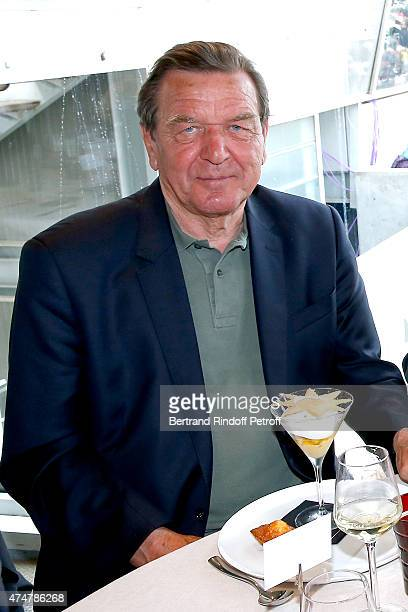 Former Chancellor of Germany Gerhard Schroder attends the 2015 Roland Garros French Tennis Open Day Three on May 26 2015 in Paris France