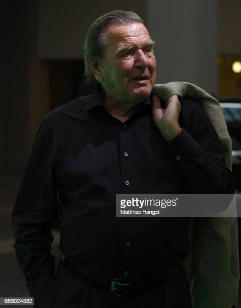 Former chancellor of Germany Gerhard Schroeder arrives for the DFB Cup Final 2017 between Eintracht Frankfurt and Borussia Dortmund at Olympiastadion...