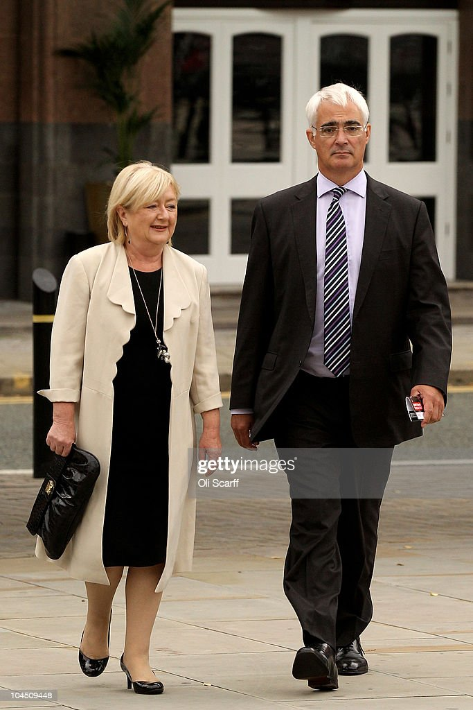 Former Chancellor of the Exchequer <a gi-track='captionPersonalityLinkClicked' href=/galleries/search?phrase=Alistair+Darling&family=editorial&specificpeople=217473 ng-click='$event.stopPropagation()'>Alistair Darling</a> and his wife Maggie Darling arrive to listen to Ed Miliband's speech on the third day of the Labour party conference at Manchester Central on September 28, 2010 in Manchester, England. The new Labour party leader Ed Miliband will today give his keynote speech to delegates where he is expected to offer a 'different ways' of doing politics.