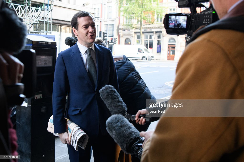 Former Chancellor of the Exchequer George Osborne arrives at the offices of the Evening Standard newspaper on his first official day in the role of editor, on May 2, 2017 in London, England. Mr Osborne announced that he was stepping down from his seat as MP for Tatton following criticism for accepting the media position.