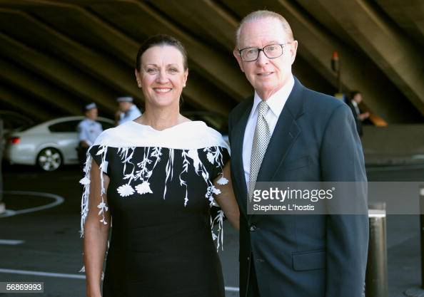 Former Channel Nine newsreader Brian Henderson and his wife attend the memorial service for Kerry Packer at the Sydney Opera House on February 17...