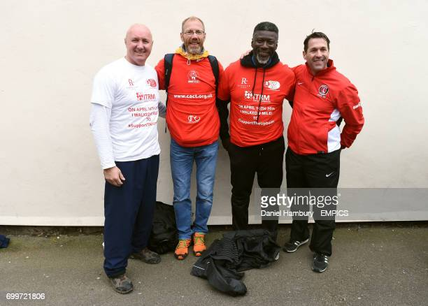 Former Charlton Athletic players Simon Webster and Paul Mortimer with CEO of the Community Trust Jason Morgan