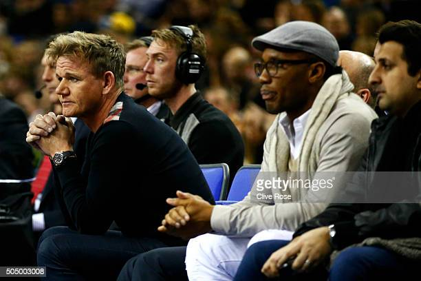 Former Chelsea footballer Didier Drogba and chef Gordon Ramsay watch the 2016 NBA Global Games London match between Toronto Raptors and Orlando Magic...
