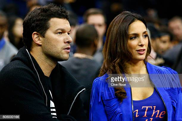 Former Chelsea footballer Michael Ballack and girlfriend Natacha Tannous attend the 2016 NBA Global Games London match between Toronto Raptors and...