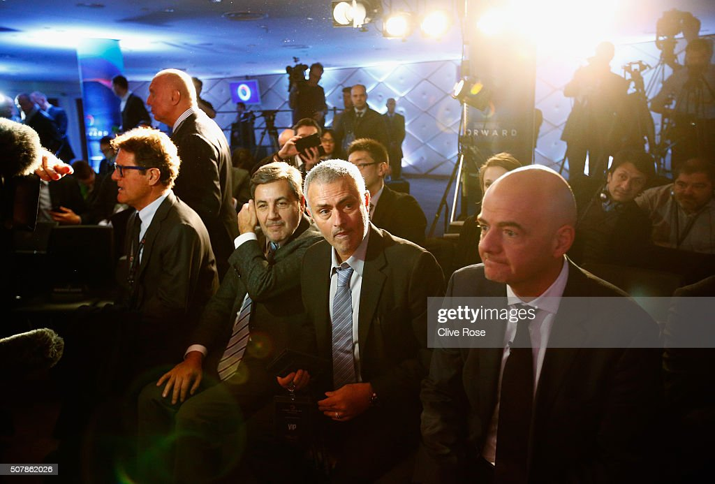 Former Chelsea manager Jose Mourinho (2ndR) attends a press conference by FIFA Presidential candidate <a gi-track='captionPersonalityLinkClicked' href=/galleries/search?phrase=Gianni+Infantino&family=editorial&specificpeople=5637052 ng-click='$event.stopPropagation()'>Gianni Infantino</a> (R) with <a gi-track='captionPersonalityLinkClicked' href=/galleries/search?phrase=Fabio+Capello&family=editorial&specificpeople=241290 ng-click='$event.stopPropagation()'>Fabio Capello</a> (L) at Wembley Stadium on February 1, 2016 in London, England.
