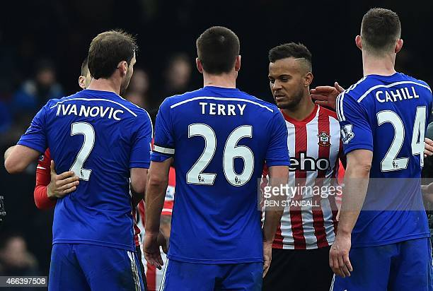 Former Chelsea player Southampton's English defender Ryan Bertrand shakes hands with his excolleagues at the final whistle in the English Premier...