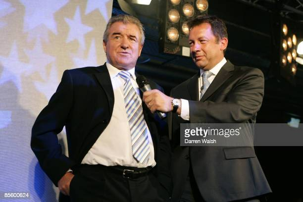 Former Chelsea player Terry Venables with host Matt Lorenzo of Sky Sports News