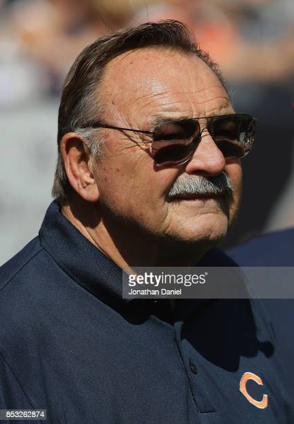 Former Chicago Bear player and Hall of Fame member Dick Butkus watches from the sidelines as the Bears take on the Pittsburgh Steelers at Soldier...