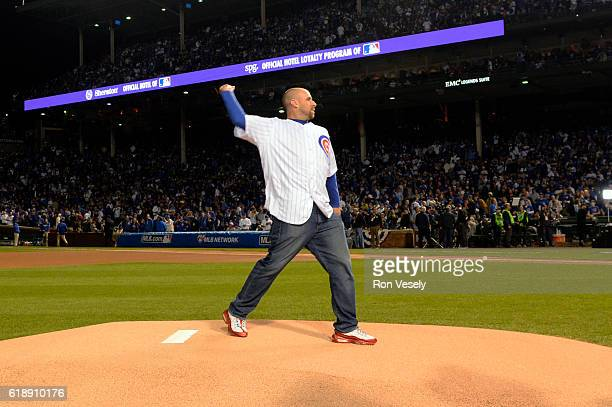 Former Chicago Cub Derrek Lee throws out the ceremonial first pitch prior to Game 3 of the 2016 World Series between the Cleveland Indians and the...