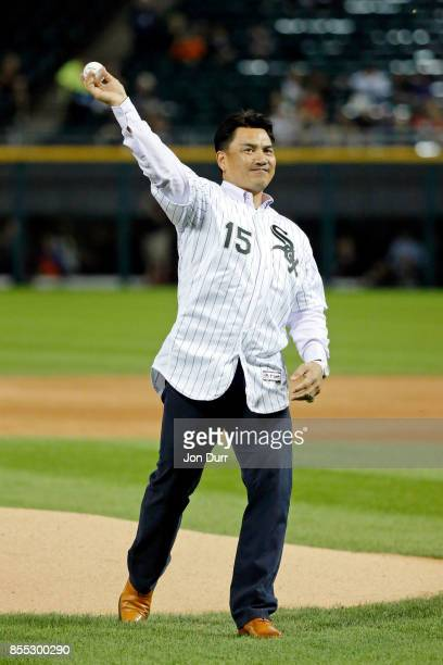 Former Chicago White Sox player Tadahito Iguchi throws out a ceremonial first pitch before the game between the Chicago White Sox and the Los Angeles...