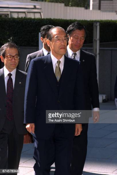 Former Chief Cabinet Secretary Takao Fujinami enters the Tokyo High Court for hearing the verdict over Recruit share scandal on March 24 1997 in...