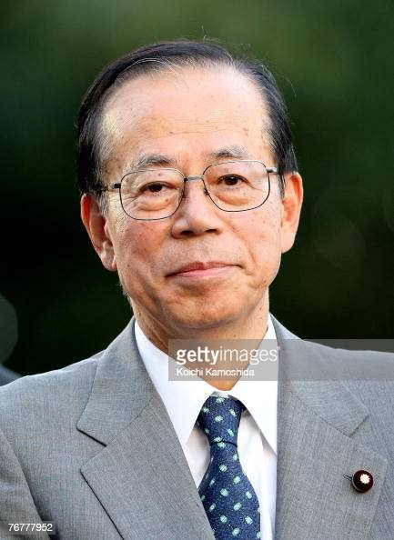 Former Chief Cabinet Secretary Yasuo Fukuda attends an election campaign for Japanese LDP Party President at Shibuya crossing on September 16 2007 in...