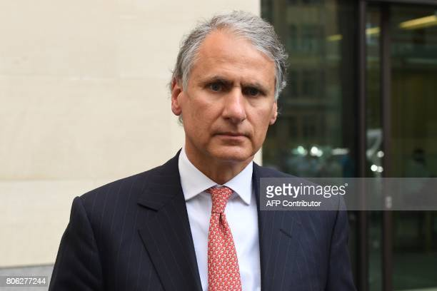 Former Chief Executive of Barclays Wealth Thomas Kalaris leaves after an appearance at Westminster Magistrates Court in central London on July 3 2017...