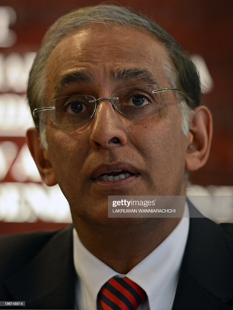 Former chief executive of the International Cricket Council (ICC), Haroon Lorgat speaks during a press conference in Colombo on November 20, 2012. Former ICC head Haroon Lorgat has recommended sweeping changes to the existing Sports Law to reduce political interference in Sri Lanka Cricket administration.