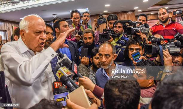 Former Chief Minister and National Conference patron Farooq Abdullah addresses a press conference at his party headquarters after winning the...