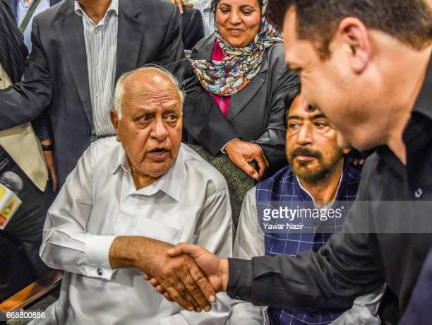 Former Chief Minister and National Conference patron Farooq Abdullah at his party headquarters after winning the elections of the lower house of the...