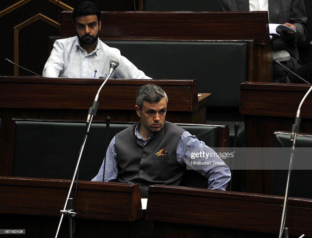 Former chief minister and working president of National Conference Omar Abdullah during a Budget session on March 25, 2015 in Jammu, India. Jammu and Kashmir Assembly witnessed ruckus after ruling BJP and PDP members slammed National Conference member Javed Rana for accusing Speaker Kavinder Gupta of being biased and demanded action against him.