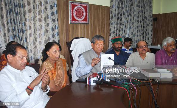 Former Chief Minister Harish Rawat addresses a press conference on March 29 2016 in Dehradun India On March 31 Harish Rawat will seek a confidence...