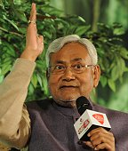 Former Chief Minister of Bihar Nitish Kumar during the programme 'Agenda Aaj Tak 2014' at Hotel Taj Mahal on December 12 2014 in New Delhi India BJP...