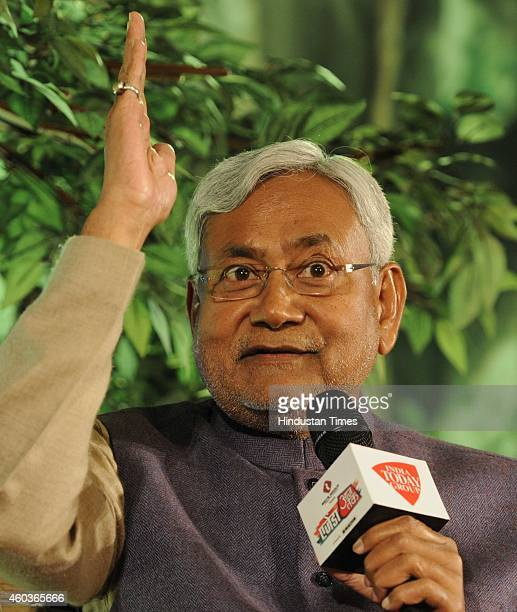Former Chief Minister of Bihar Nitish Kumar during the programme 'Agenda Aaj Tak 2014' at Hotel Taj Mahal on December 12 2014 in New Delhi India BJP...
