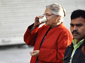 Former Chief Minister of Delhi Sheila Dikshit after cast her vote at polling booth during the Delhi Assembly Elections 2015 on February 7 2015 in New...