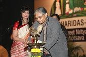 Former chief minister of Delhi Sheila Dikshit lighting the inaugurational lamp duirng Swami Haridas Tansen Sangeet Nritya Mahotsavon at FICCI...
