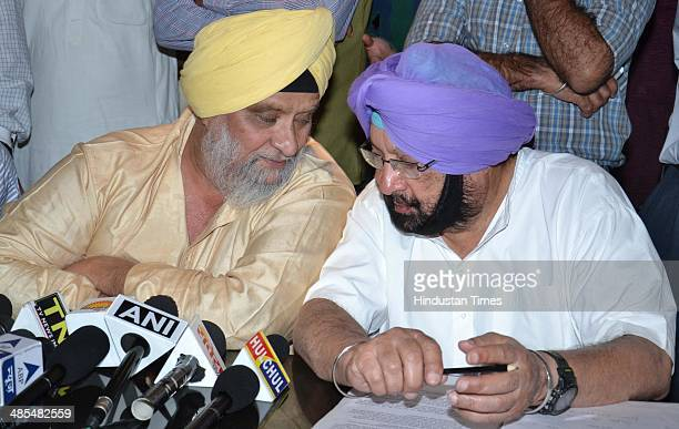 Former chief minister of Punjab and Congress Candidate from Amritsar Captain Amarinder Singh and with former cricketer Bishan Singh Bedi during press...