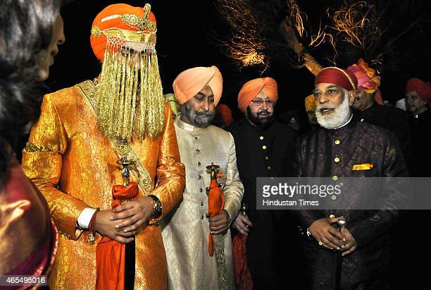 Former Chief Minister of Punjab Captain Amarinder Singh arrives with his grandson Angad Singh for his wedding with Himachal Pradesh Chief Minister...