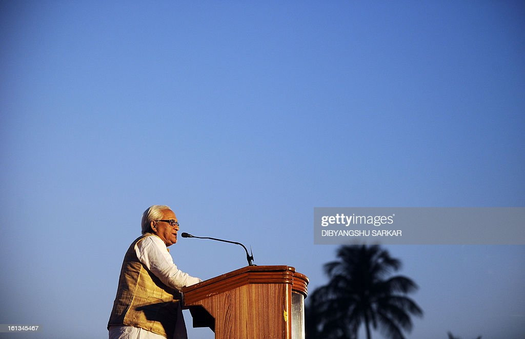 Former Chief Minister of the eastern state of West Bengal and leader of the Communist Party of India (Marxist) CPI(M) Buddhadeb Bhattacharya addresses a mass meeting in Kolkata on February 10, 2013. Thousands of party supporters attended the meeting to listen to their leaders, to demand food and social security and protest against the recent price hike in daily necessary commodities. AFP PHOTO/Dibyangshu SARKAR