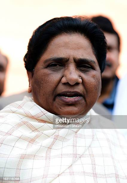 Former Chief Minister of the northern Indian state of Uttar Pradesh and Bahujan Samaj Party Leader Mayawati addresses media representatives outside...