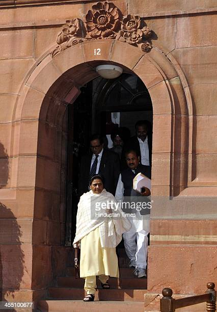 Former Chief Minister of Uttar Pradesh and Bahujan Samaj Party supreme Mayawati coming out after attending the ongoing Parliament Winter Session at...