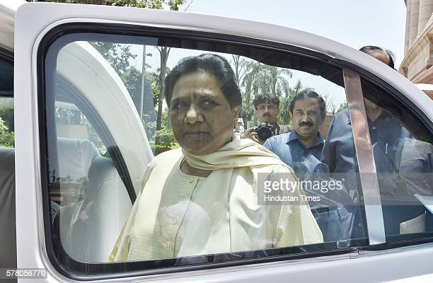 Former Chief Minister of Uttar Pradesh and BSP Chief Mayawati after attending the Rajya Sabha Monsoon Session at Parliament House on July 20 2016 in...