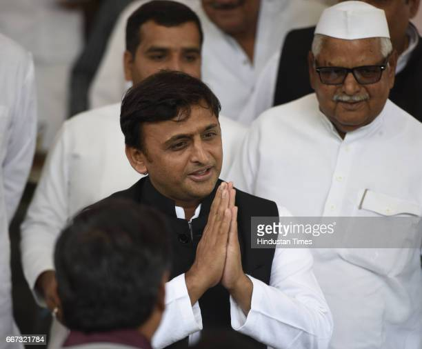Former Chief Minister of Uttar Pradesh and President of Samajwadi Party Akhilesh Yadav during the Parliament Budget Session on April 11 2017 in New...