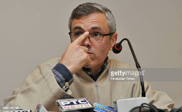 Former Chief Minister Omar Abdullah addresses a press conference on November 7 2015 in Srinagar India After a rally of PM Modi Abdullah said that...